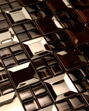 Noble glass metal mosaic|brown