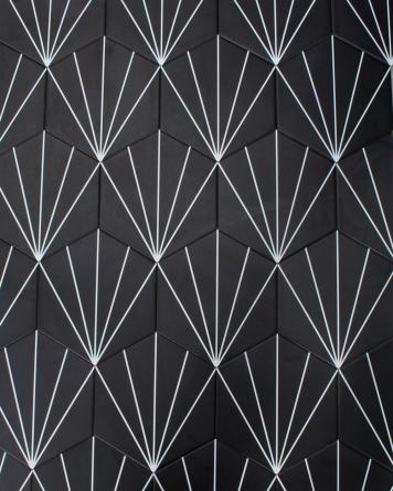 Hexagon Tiles Black Stripes...