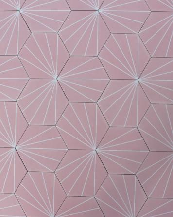 Hexagon Tiles Pink Stripes...