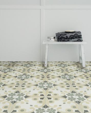 Jenette cement tile look|green