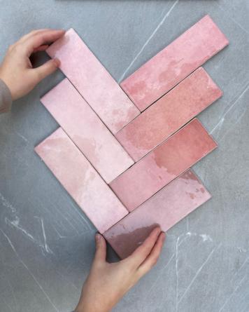 Artisan tiles pink 6.5x20...
