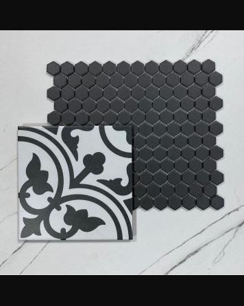 Sechseck Mosaik matt - schwarz