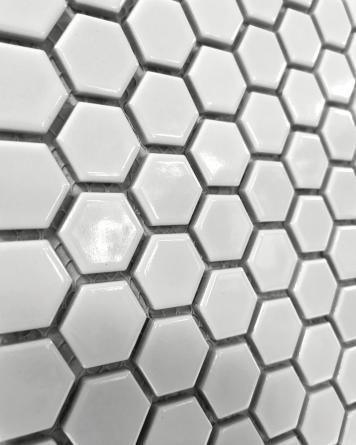 Hexagon Mosaic White Shiny...