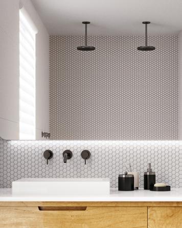 Hexagon Mosaic White Dull...